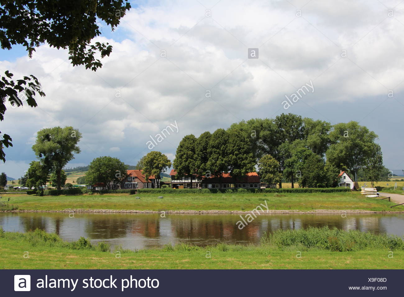 The Weser with Grohnde - Stock Image