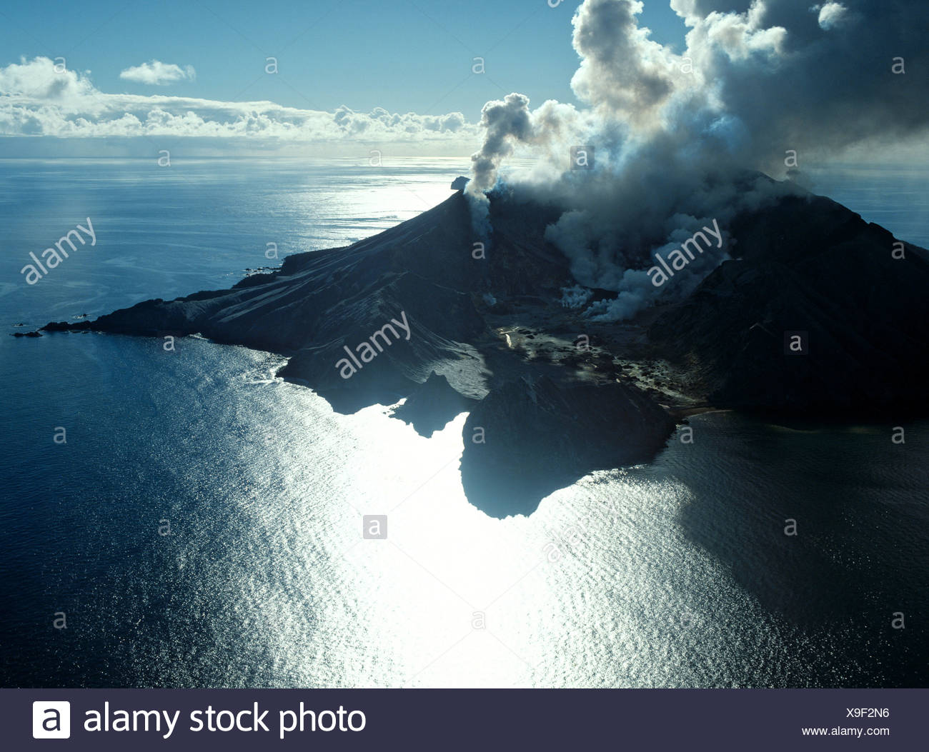 White Island, volcanic eruption, Bay of Plenty, North Island, New Zealand - Stock Image