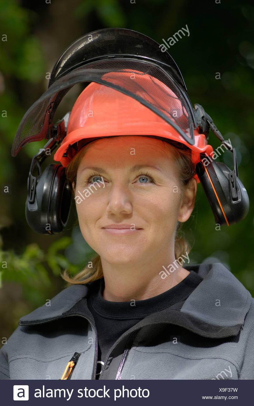 A female lumberjack Sweden - Stock Image