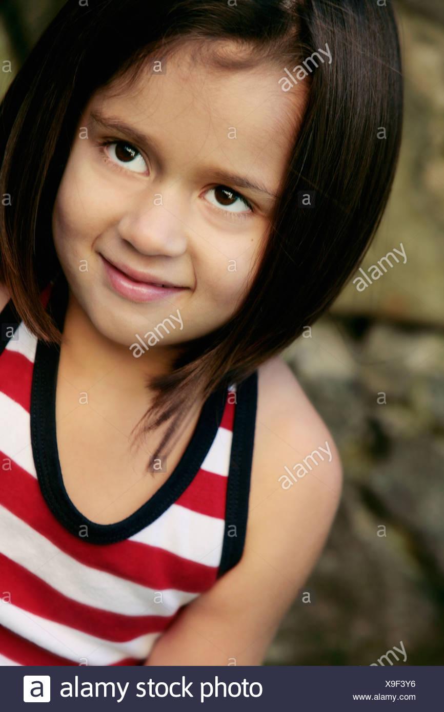 Portrait of a girl of Indian origin, Sweden. - Stock Image