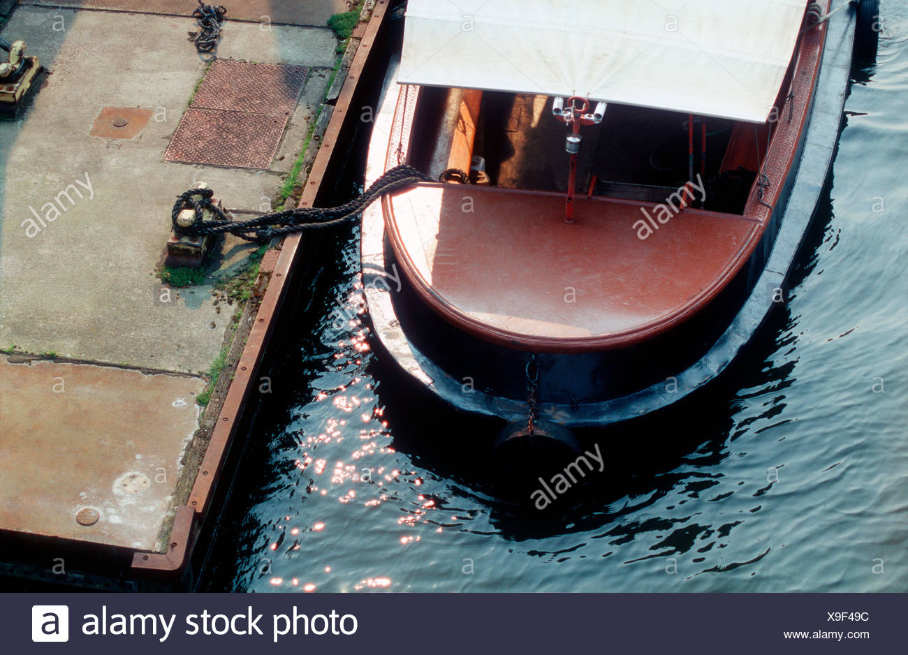 Moored boat - Stock Image
