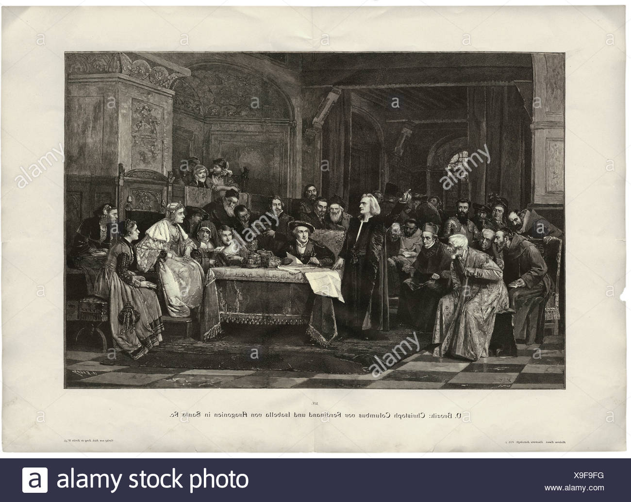 Kolumbus, Christoph, 1451 - 20.5.1506, Italian mariner and discoverer, with King Ferdinand II of Aragon and Queen Isabella I of - Stock Image