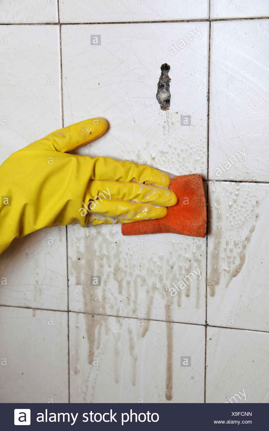 Cleaning of dirty old tiles in a bathroom Stock Photo: 281237089 - Alamy