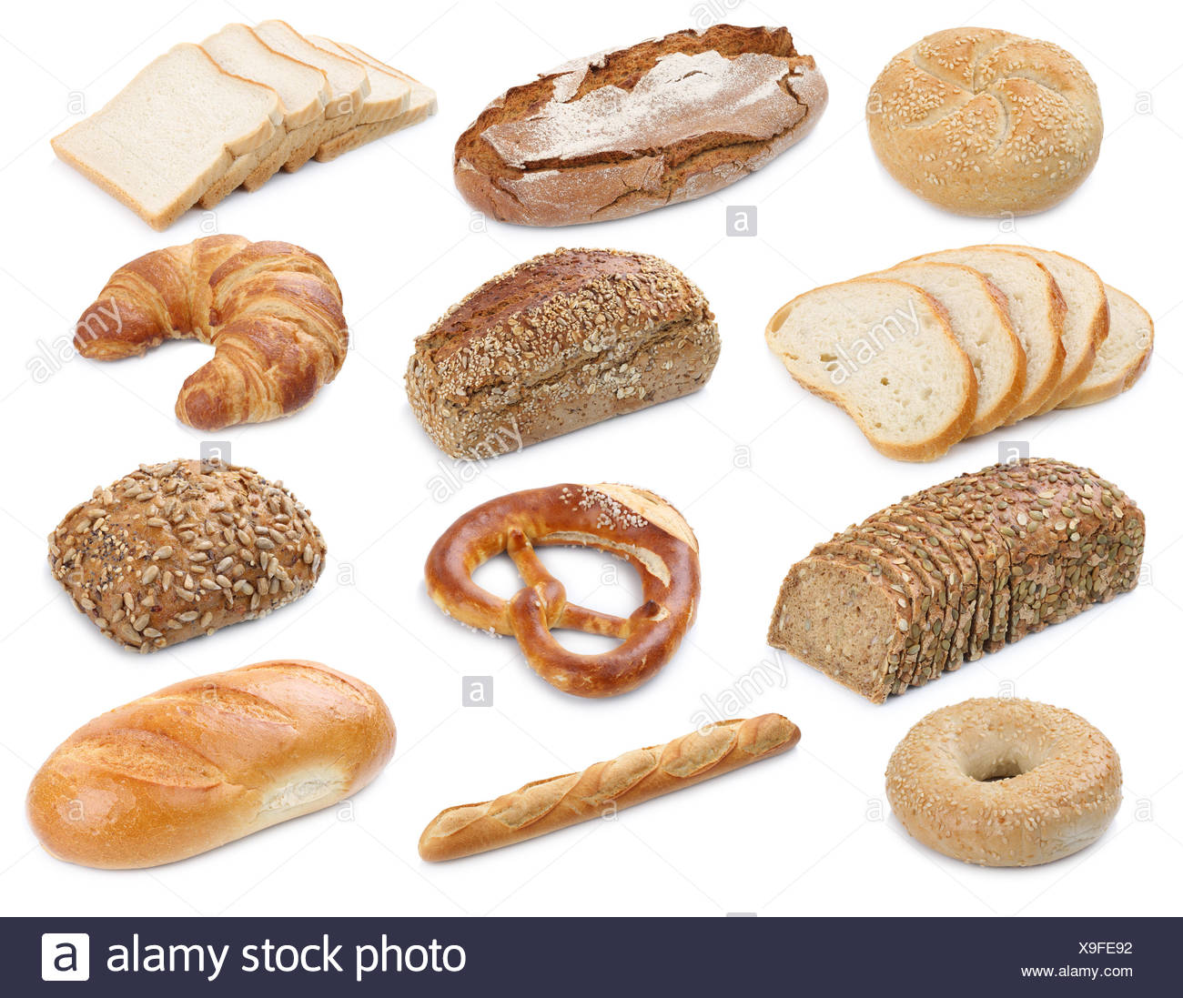 collection of bread loaves pastry buns cutout cutouts cut isolated Stock Photo