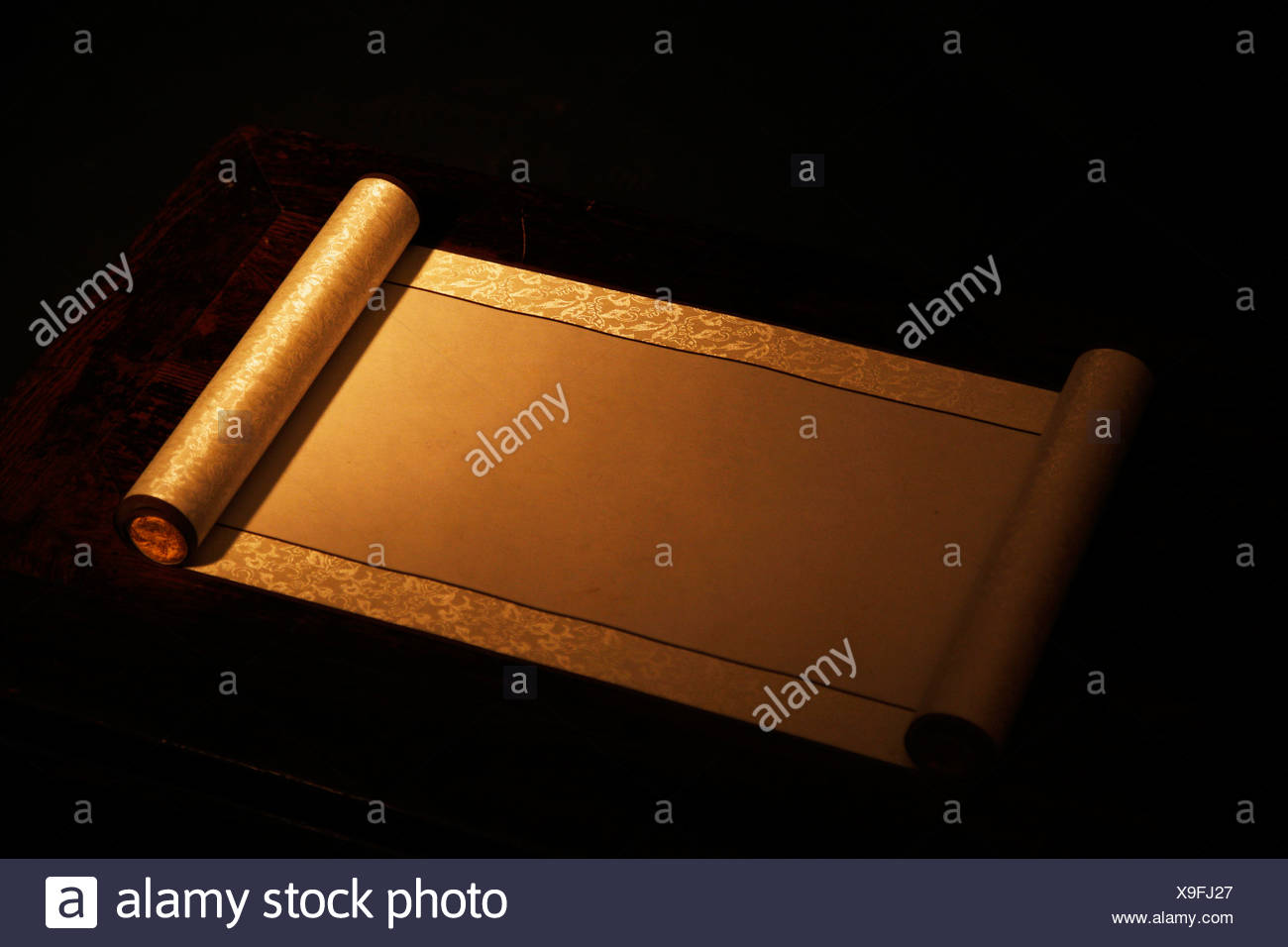 Chinese Traditional Scroll,Still Life - Stock Image