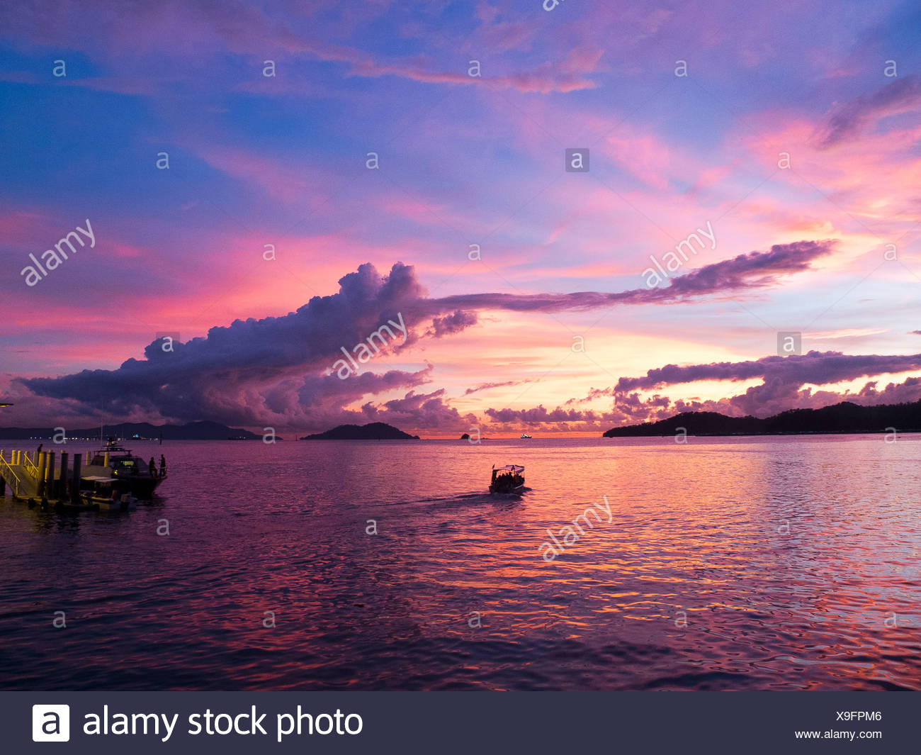 Malaysia, Borneo, South China Sea and boats - Stock Image