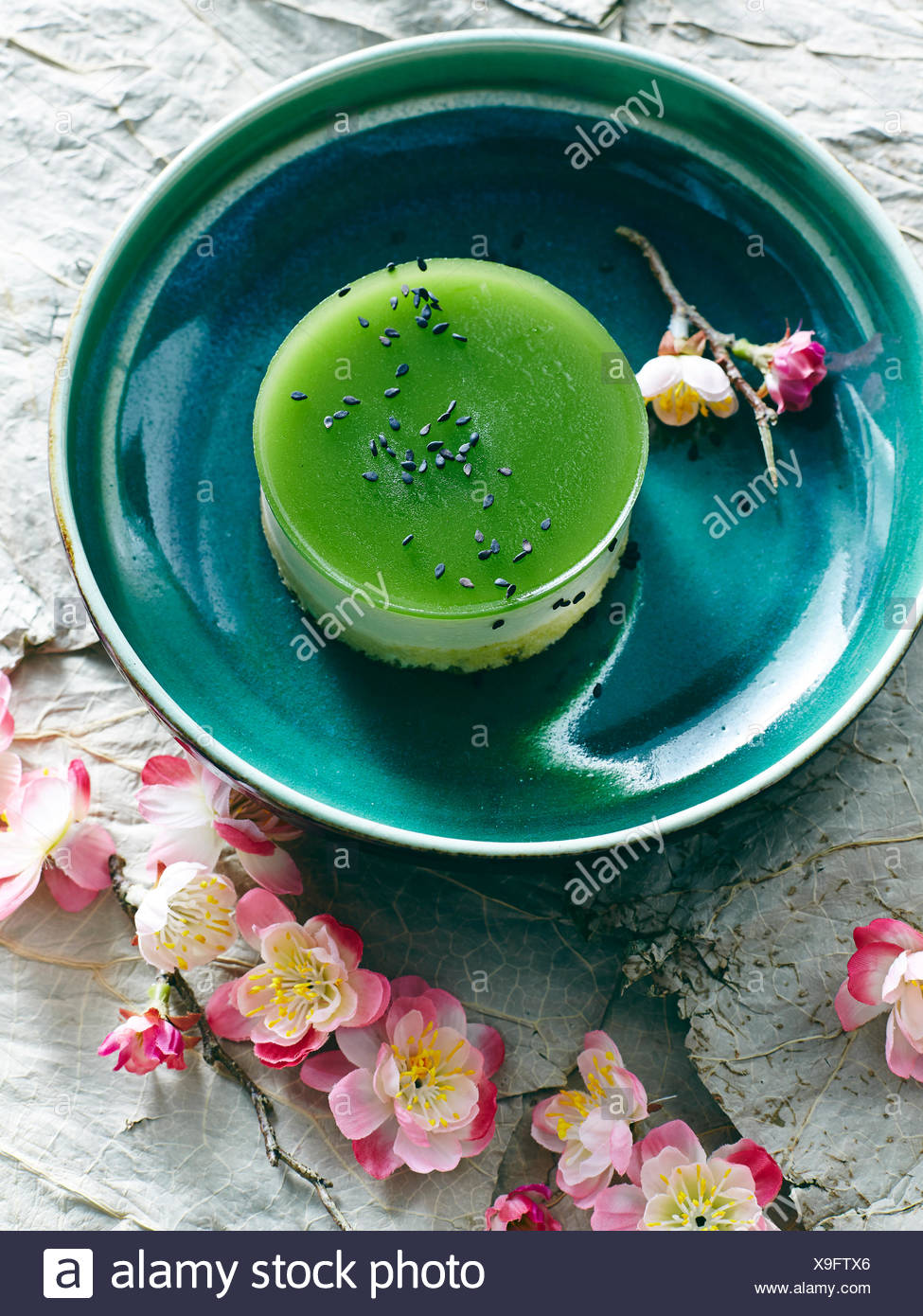 Still life with bowl of Japanese green tea cheesecake - Stock Image