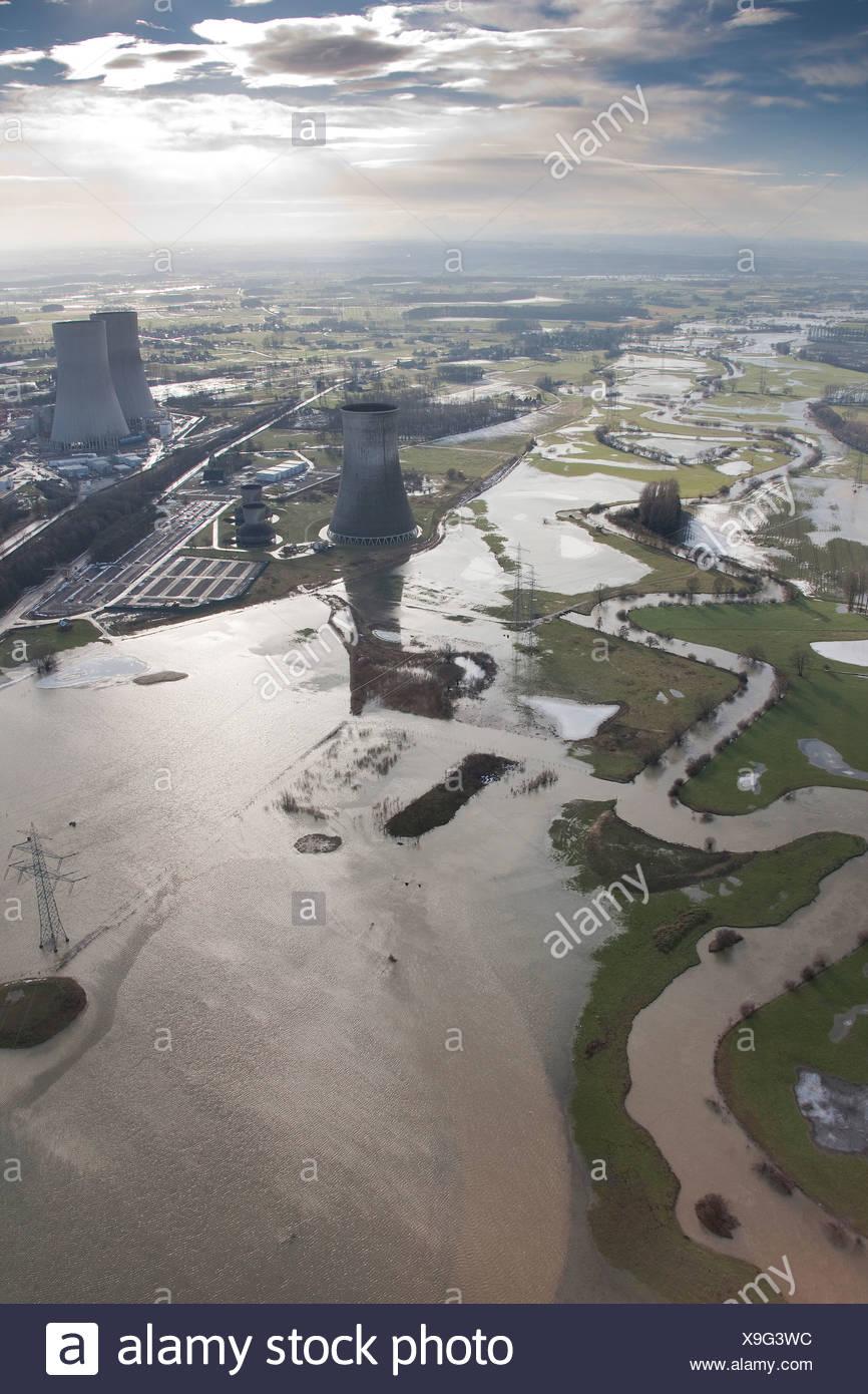 Aerial view, winter floods, Westfalen power plant, RWE Power, power plant construction site, Hamm, Lippetal, Ruhrgebiet area - Stock Image