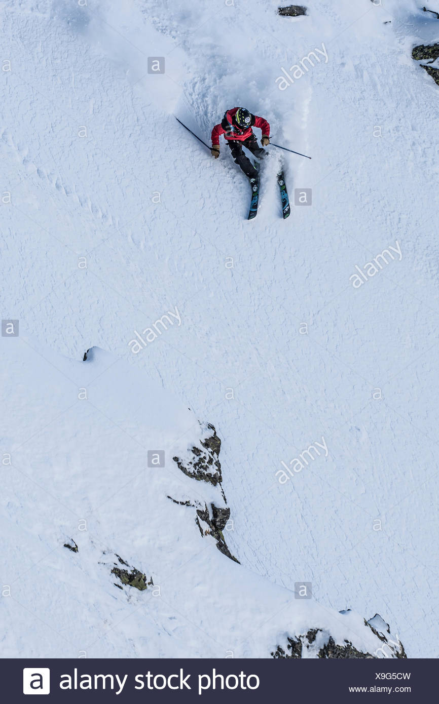 Freerider enjoying the fresh powder in Andorra - Stock Image
