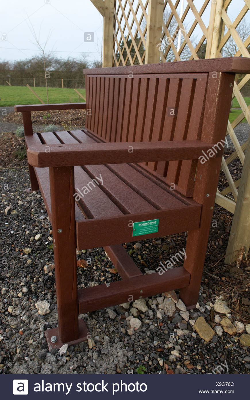 Picture of: Recycled Plastic Park Bench Stock Photo Alamy