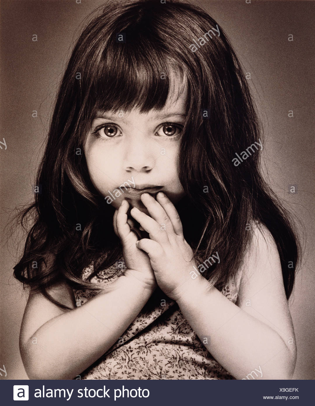 Children. Close-up portrait of a little girl. - Stock Image