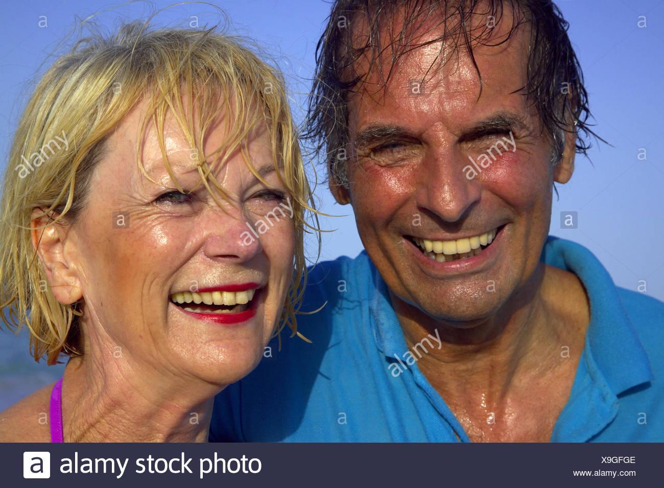 elderly married couple smiling, Balearen, Ibiza Stock Photo