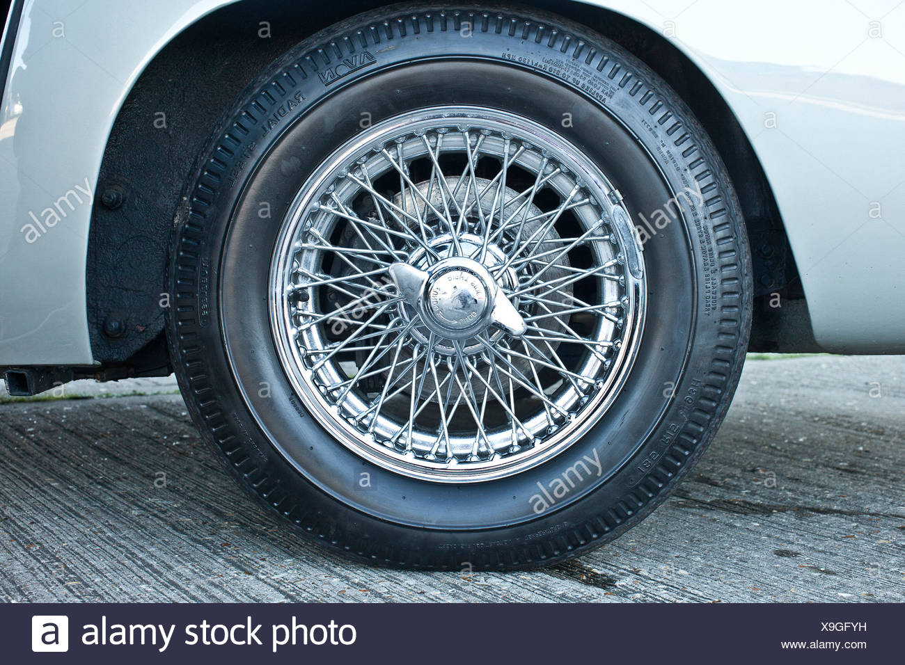 Tyre of Aston Martin DB5, James Bond classic car - Stock Image