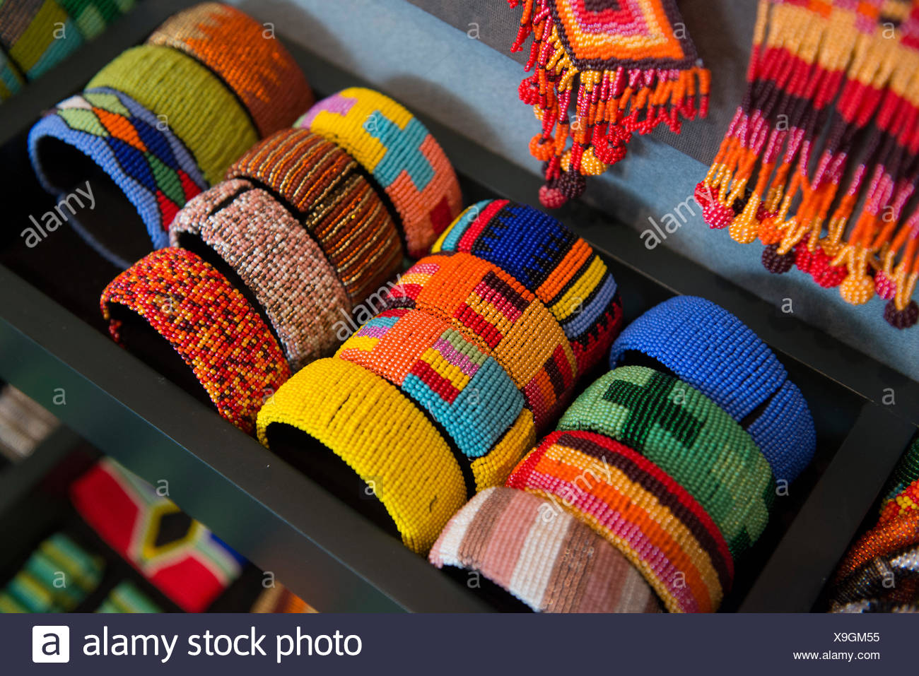 Zulu bangles at the African Art Centre. - Stock Image