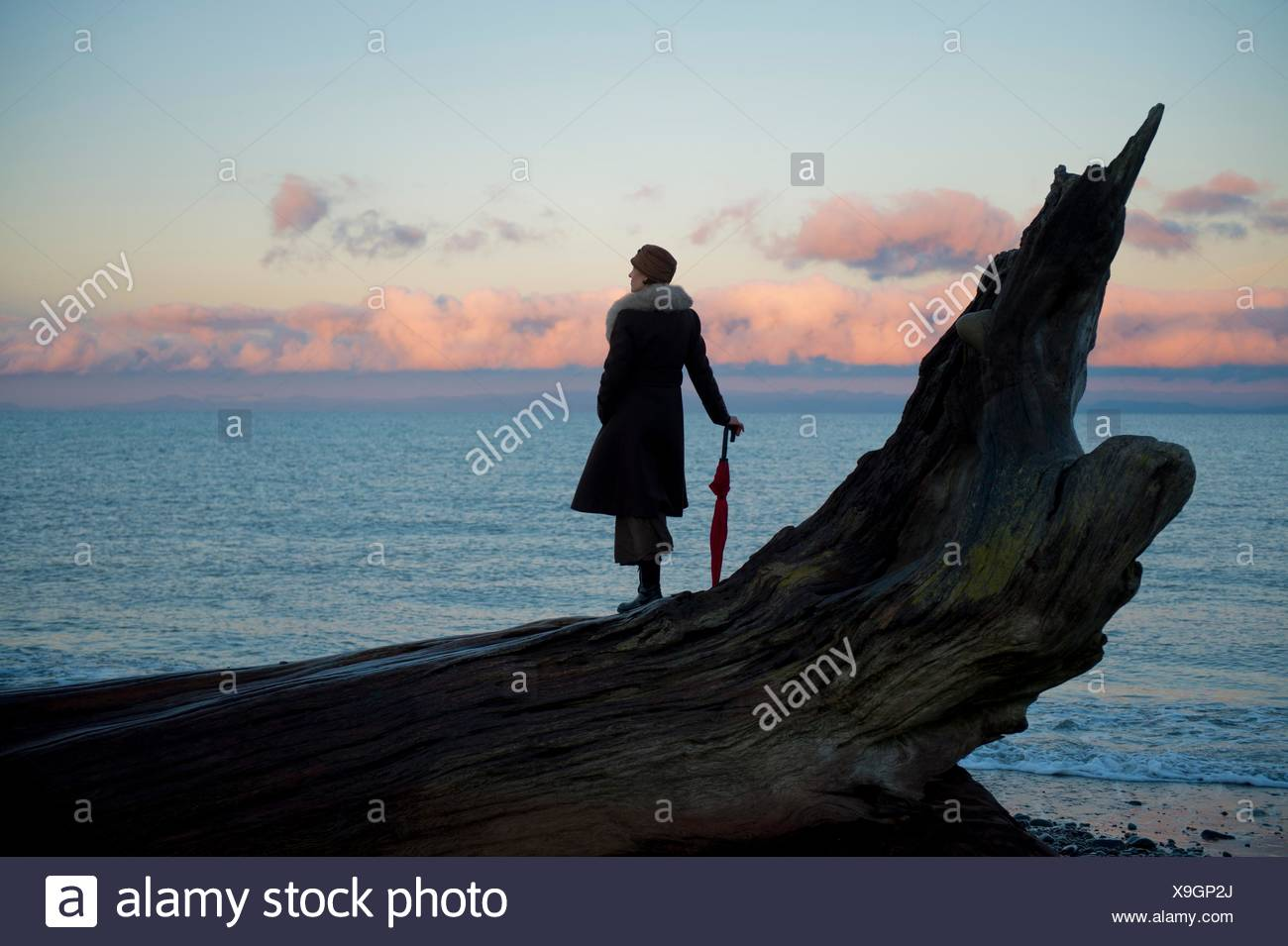 Woman leaning on umbrella standing on large driftwood tree trunk on beach - Stock Image
