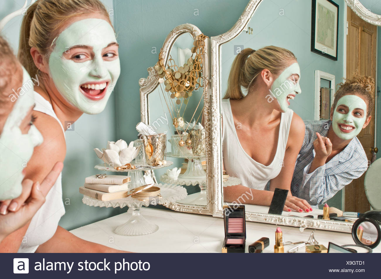 Women in face masks - Stock Image