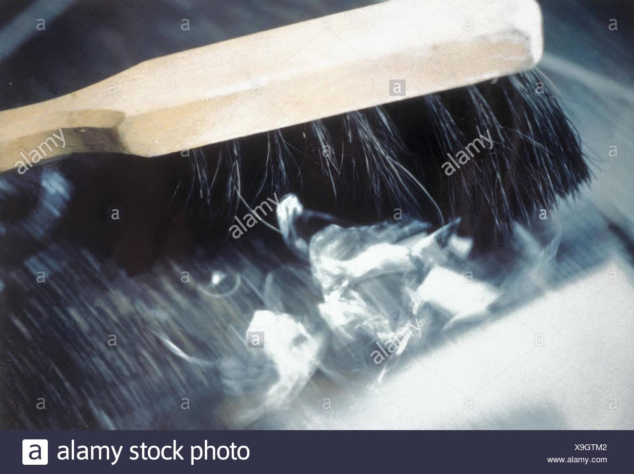 Glass shards, handbrushes, sweep, Kehrbesen, brooms, shards, glass fragments, misfortune, bad luck, zusammenkehren, clear up, clean, clean, clean, cleaning, cleanness, order, inside - Stock Image