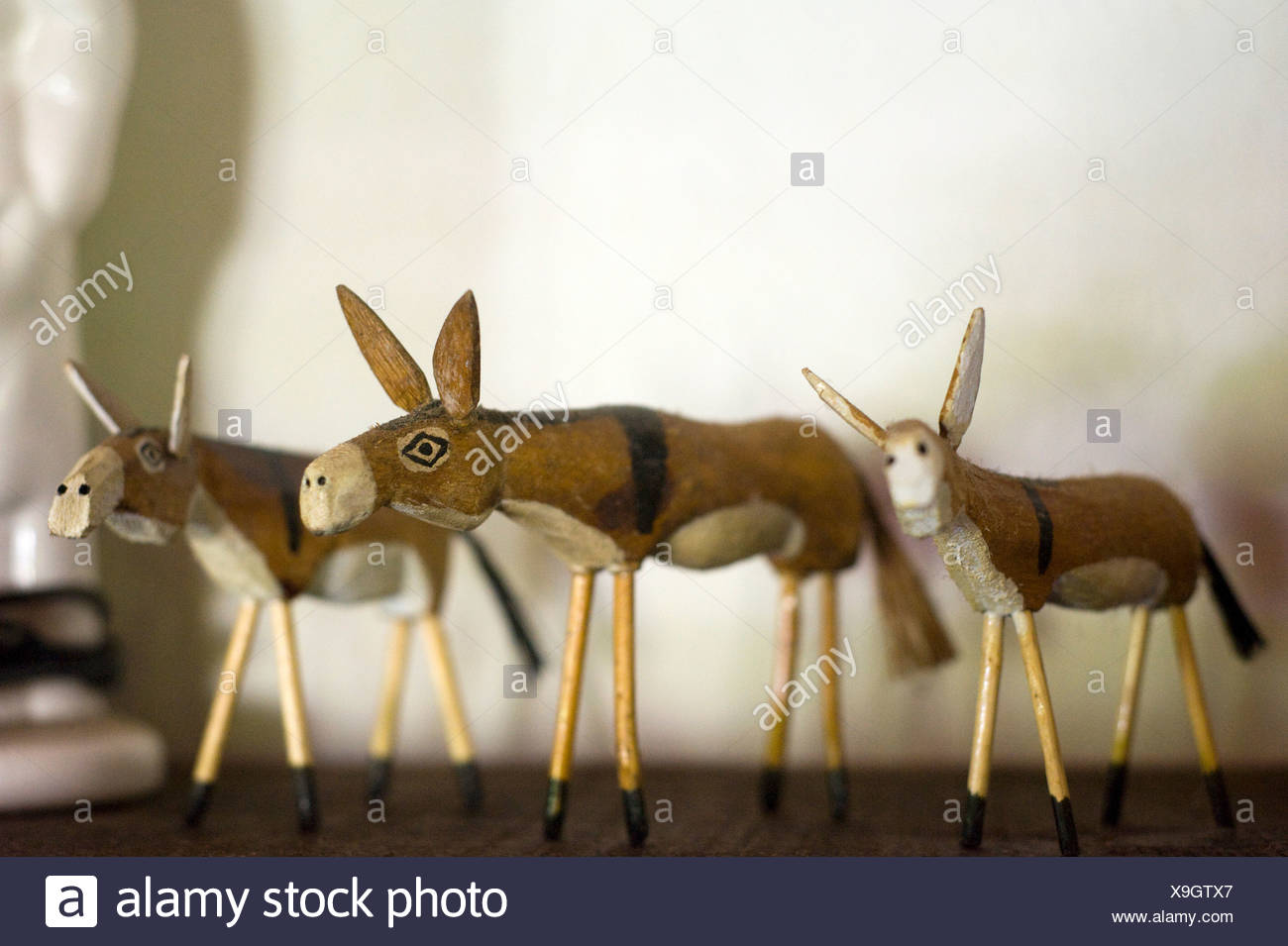 Three ornamental donkeys - Stock Image