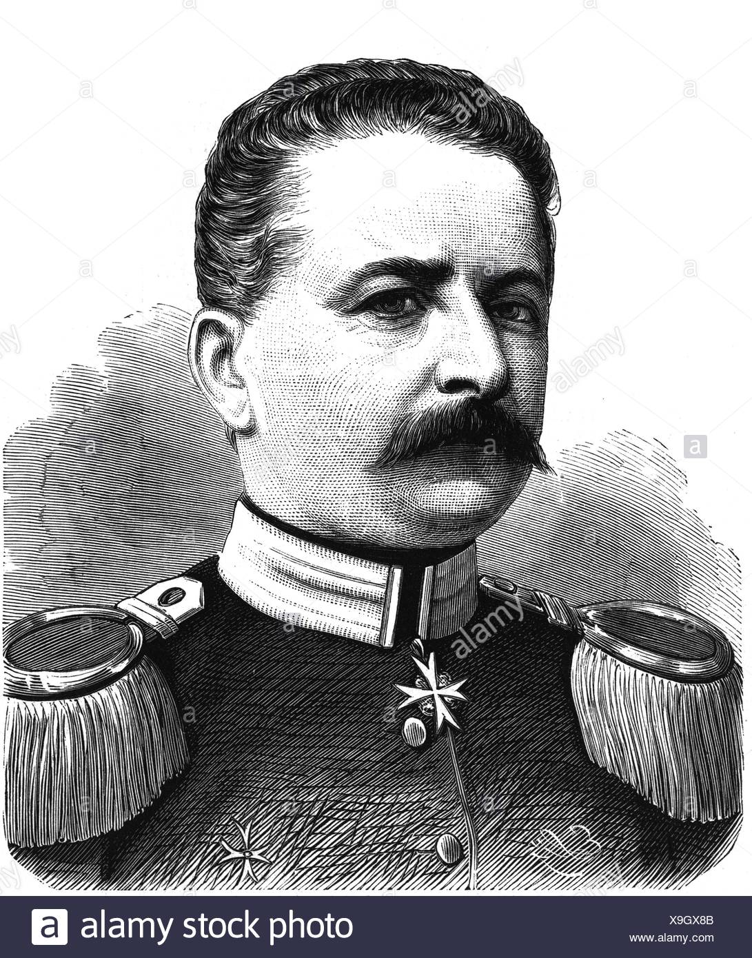 Waldersee, Alfred Count von 8.4.1832 - 5.3.1904, German general, Charge d'affaires of the German empire in Paris 1871 - 1873, portrait, wood engraving, 1871, Artist's Copyright has not to be cleared - Stock Image