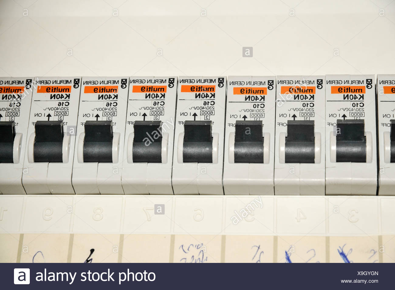 Breaker Box Stock Photos Images Alamy 89 Grand Am Fuse Domestic Close Up With Trip Switches Circuit Breakers Image