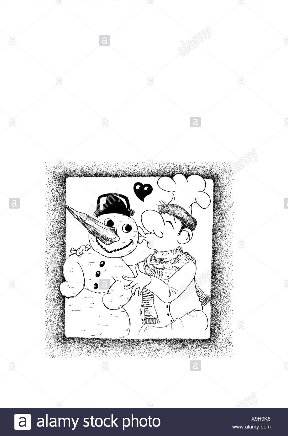 Cook and snowman in intimate togetherness - Stock Image