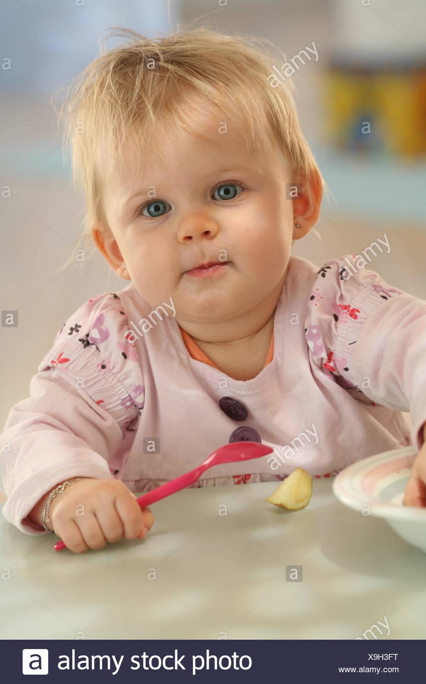Baby8 monthseatspoondressesblondeatindoor