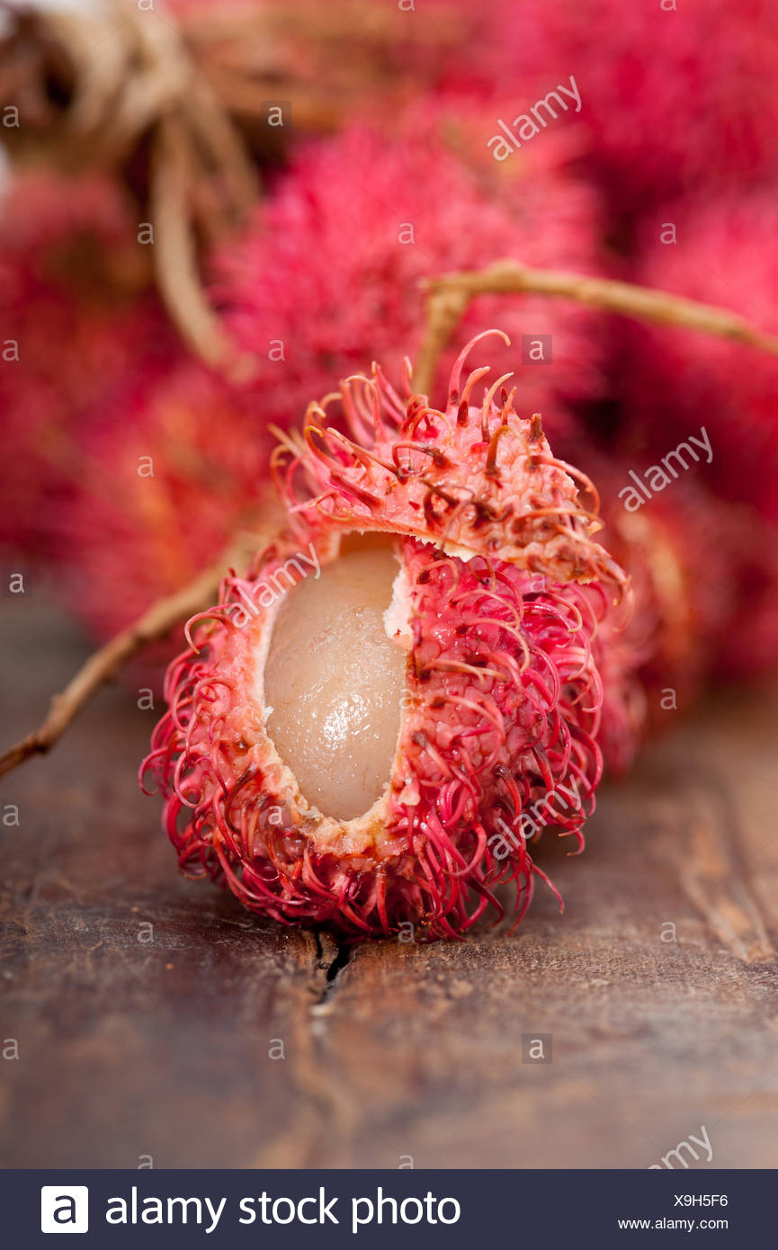 fresh rambutan fruits - Stock Image