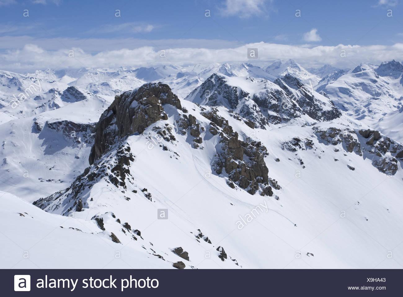 Switzerland, the Engadine, Piz Güglia, view, mountain landscape, winter, - Stock Image