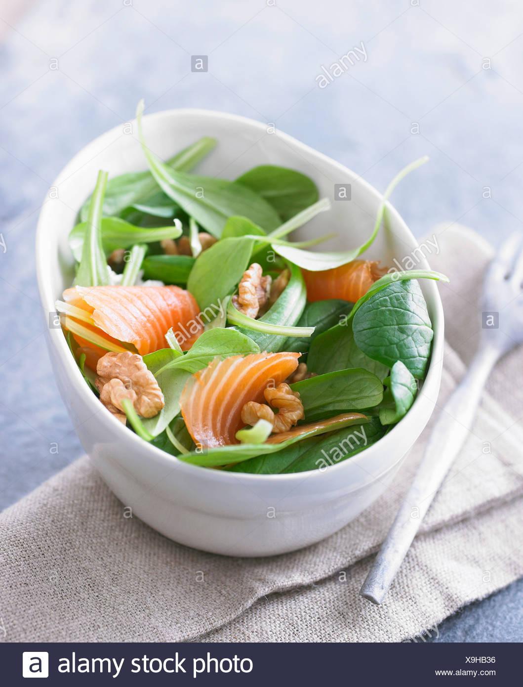 Corn salad,salmon and walnut salad - Stock Image