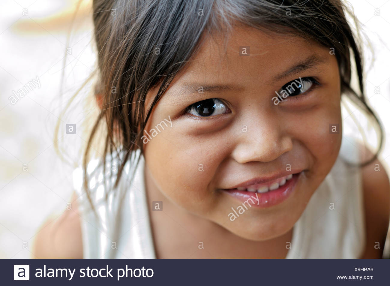 Indigenous girl from the Wichi Indians tribe, 5 years, portrait, La Curvita Indigena community, Gran Chaco, , Argentina - Stock Image