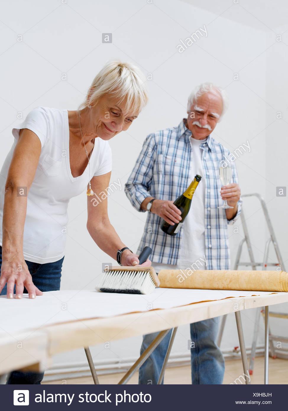 Flat Renovation Works Senior Couple Wallpaper 60 70 Years