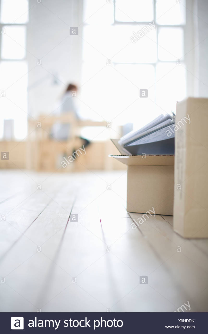 Woman sits at desk in window area of loft apartment - Stock Image