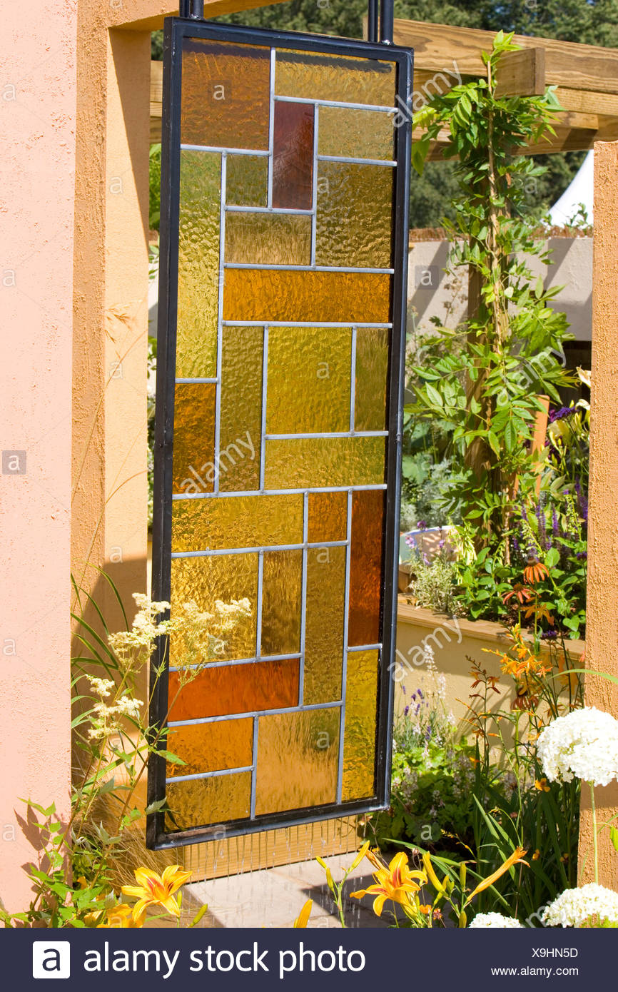 stained glass garden room divider Stock Photo 281287593 Alamy
