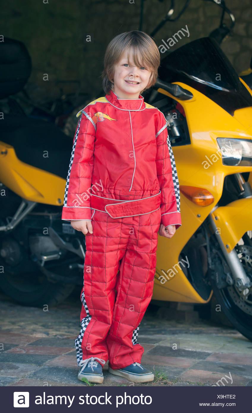 Boy Wearing Race Car Driver Costume Stock Photo 281290186 Alamy