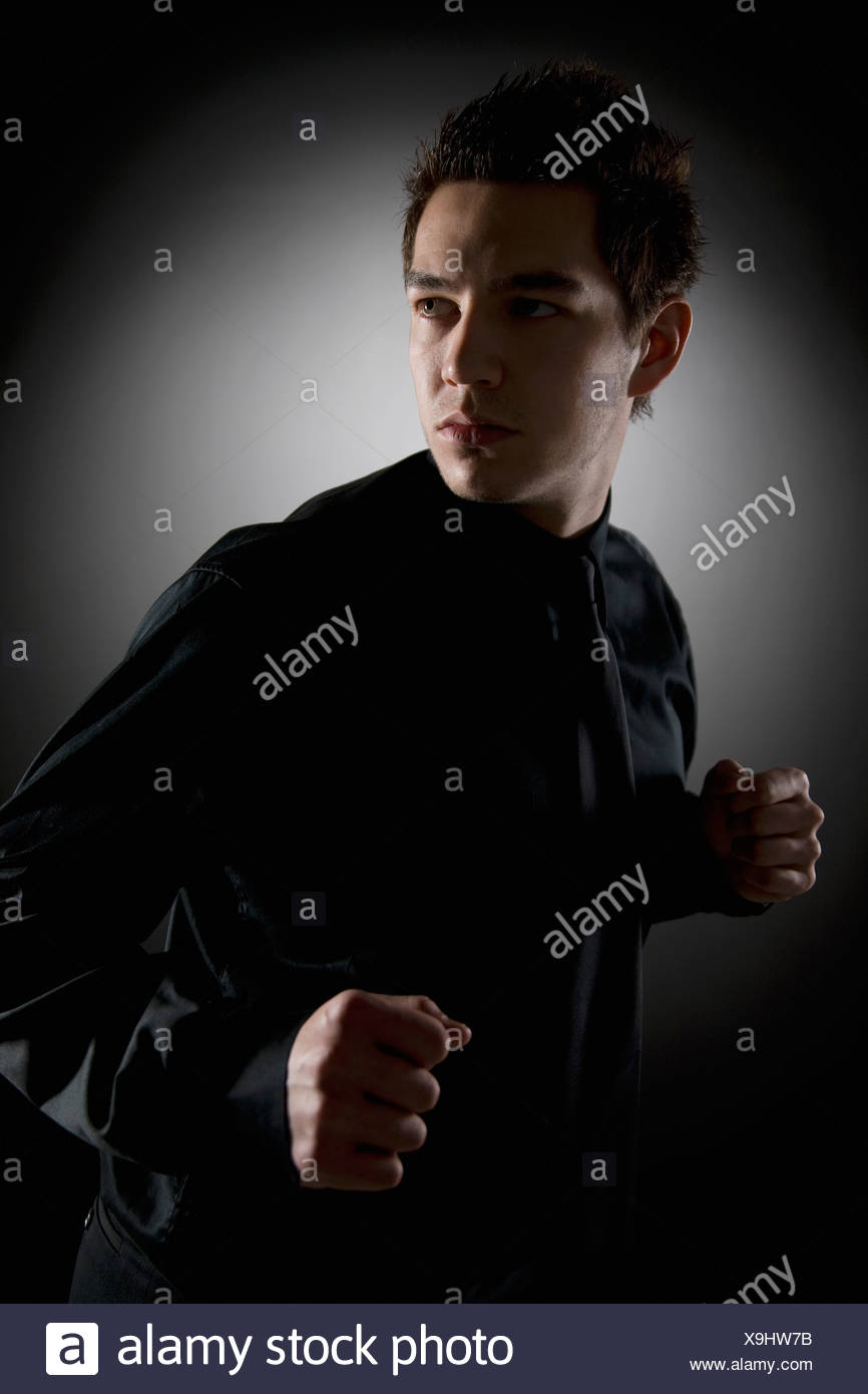 Man In Fighting Stance - Stock Image