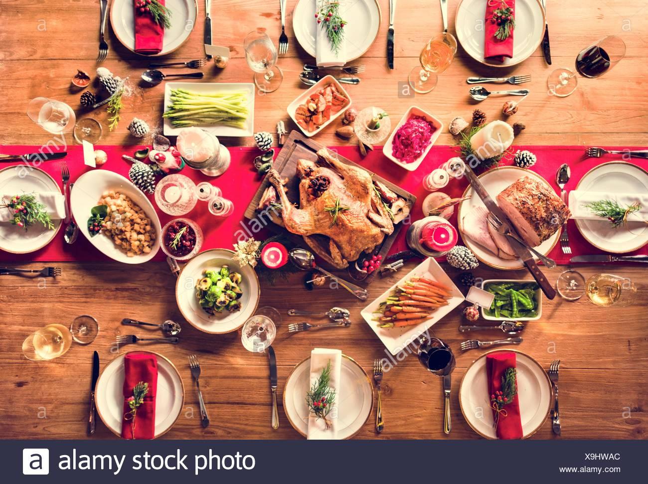 Christmas Ham Dinner.Traditional Christmas Dinner Turkey Ham Stock Photos