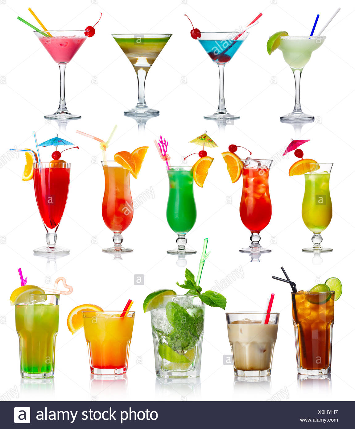 Set of alcohol cocktails isolated on white - Stock Image