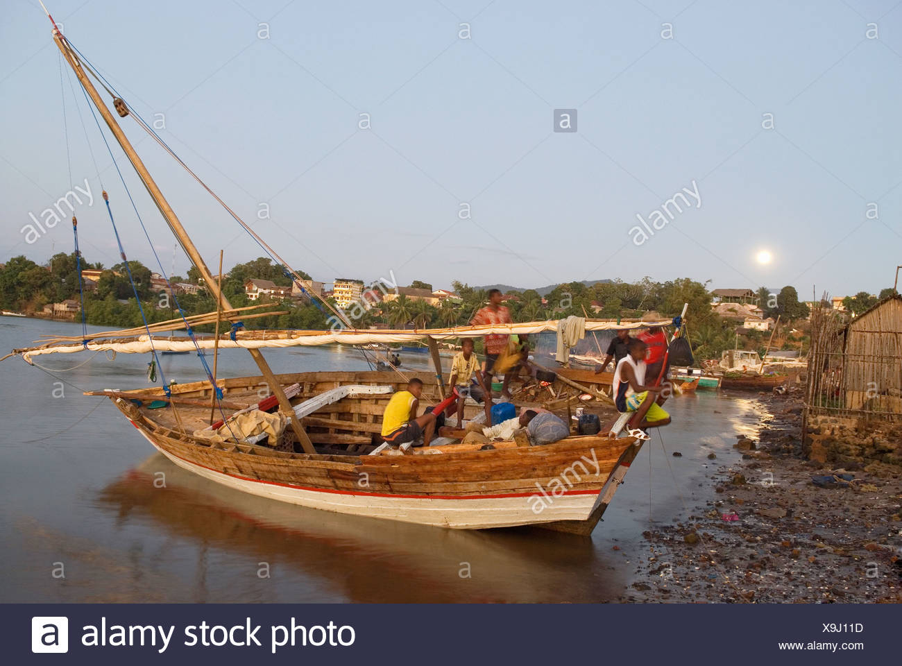 harbour of Hell-Ville Andoany, Nosy Be island, Republic of Madagascar, Indian Ocean - Stock Image