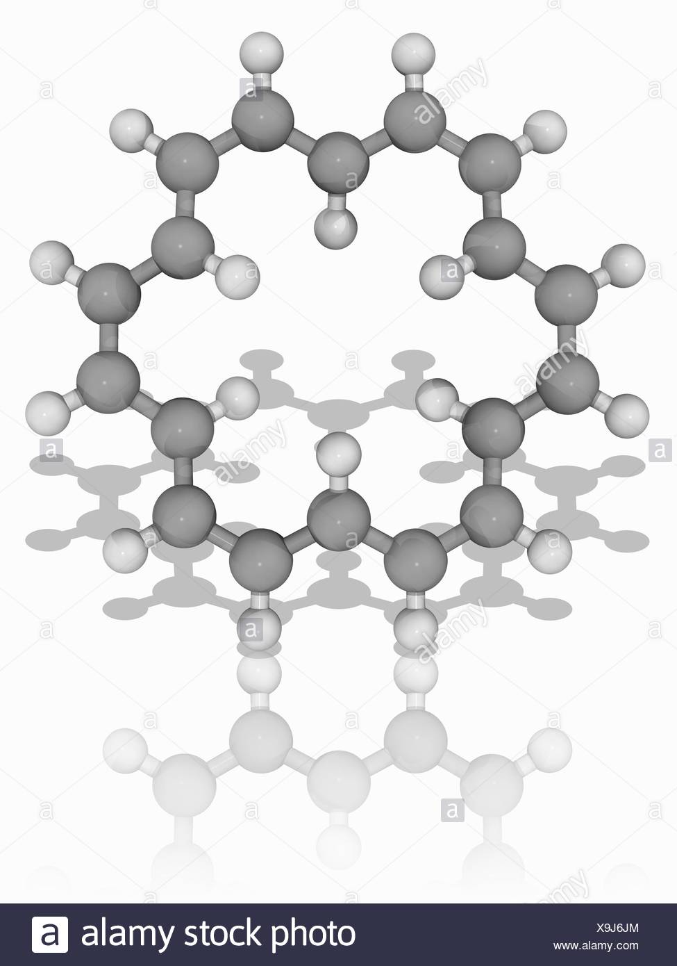 18-annulene. Molecular model of the hydrocarbon 18-annulene (C18.H18). This is an aromatic completely conjugated monocyclic hydrocarbon, also known as cyclooctadecanonaene. Atoms are represented as spheres and are colour-coded: carbon (grey) and hydrogen (white). Illustration. - Stock Image