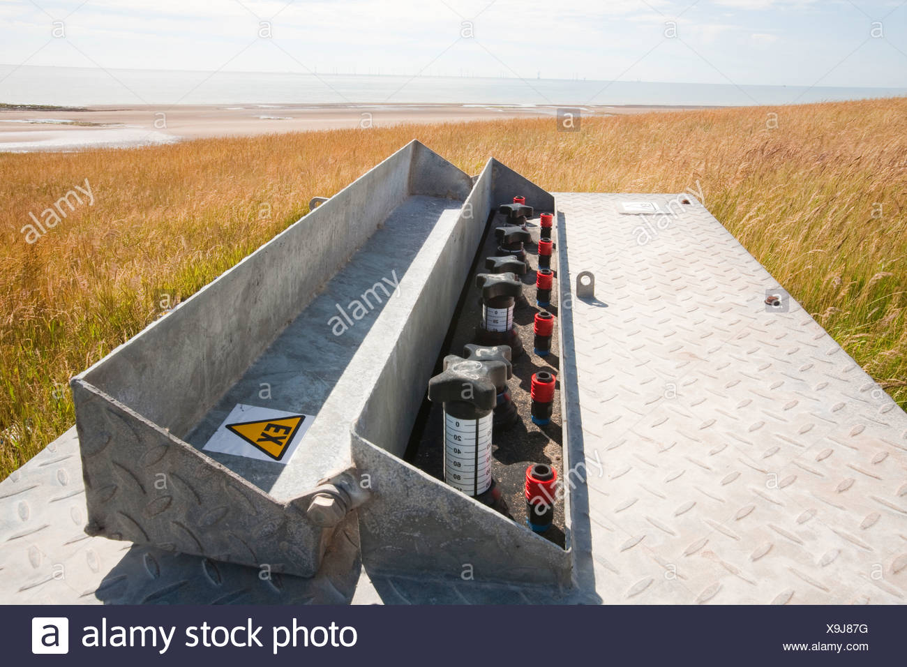 Off shore wind farm and methane capture from Landfill, Walney Island, Cumbria, UK. - Stock Image