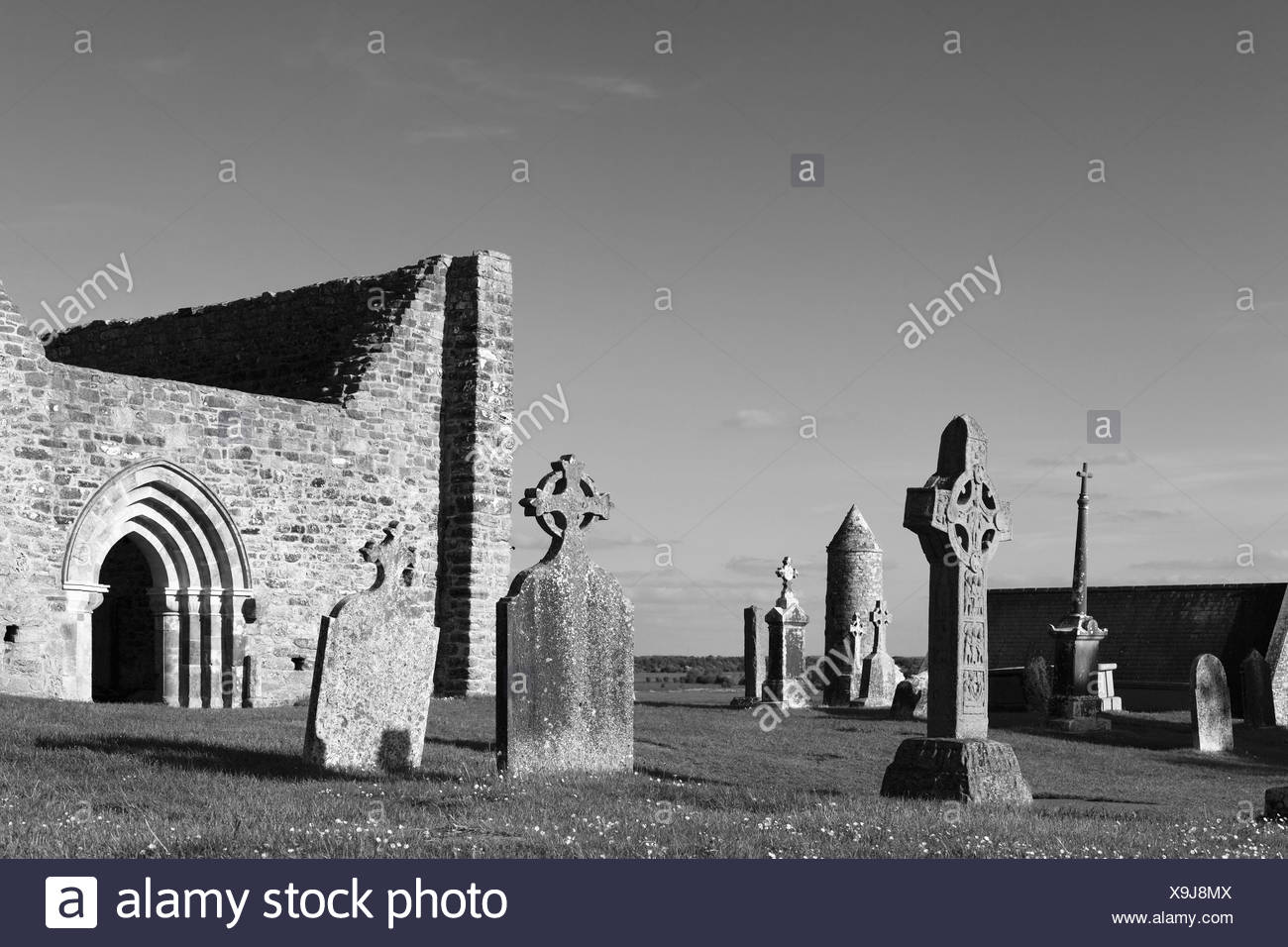 Copy of a high cross, Cross of the Scriptures, and the cathedral, Clonmacnoise Monastery, County , Leinster, Ireland, Europe - Stock Image