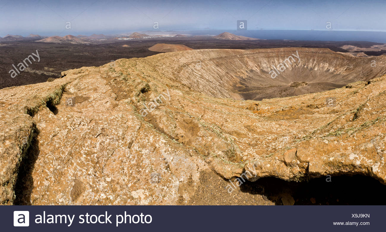 Spain, Lanzarote, Mancha Blanca, Caldera Blanca, landscape, summer, mountains, hills, Canary Islands, - Stock Image