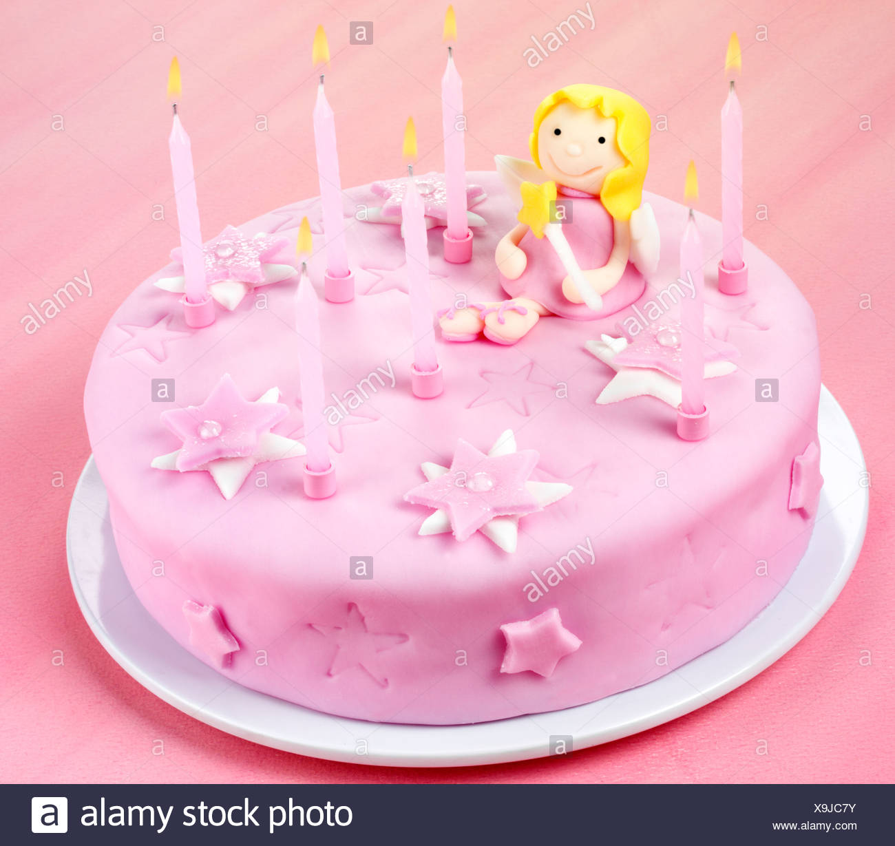 Swell Pink Fairy Birthday Cake Stock Photo 281302559 Alamy Funny Birthday Cards Online Overcheapnameinfo
