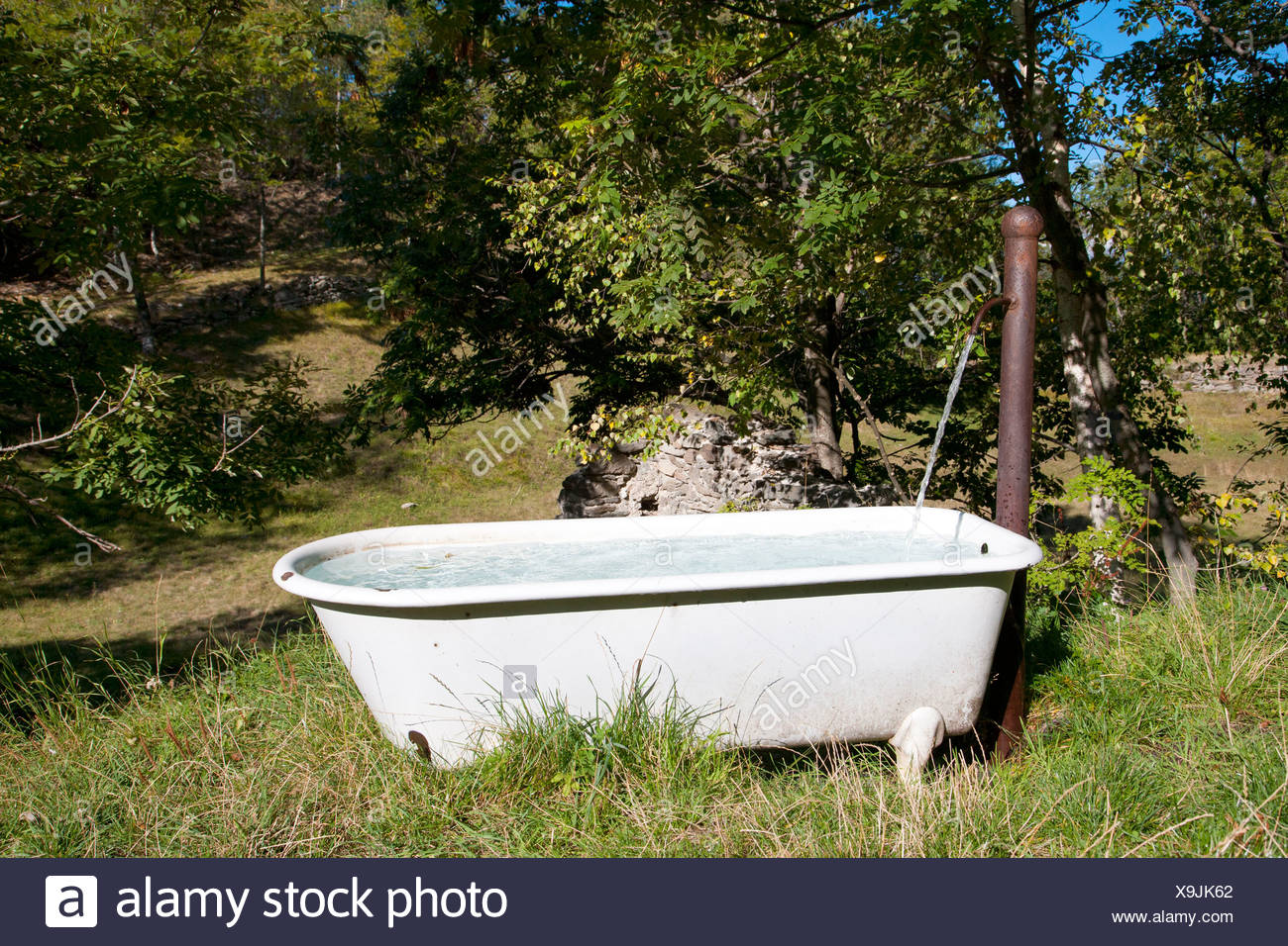 Bathtub placed in countryside and used as spring water trough ...