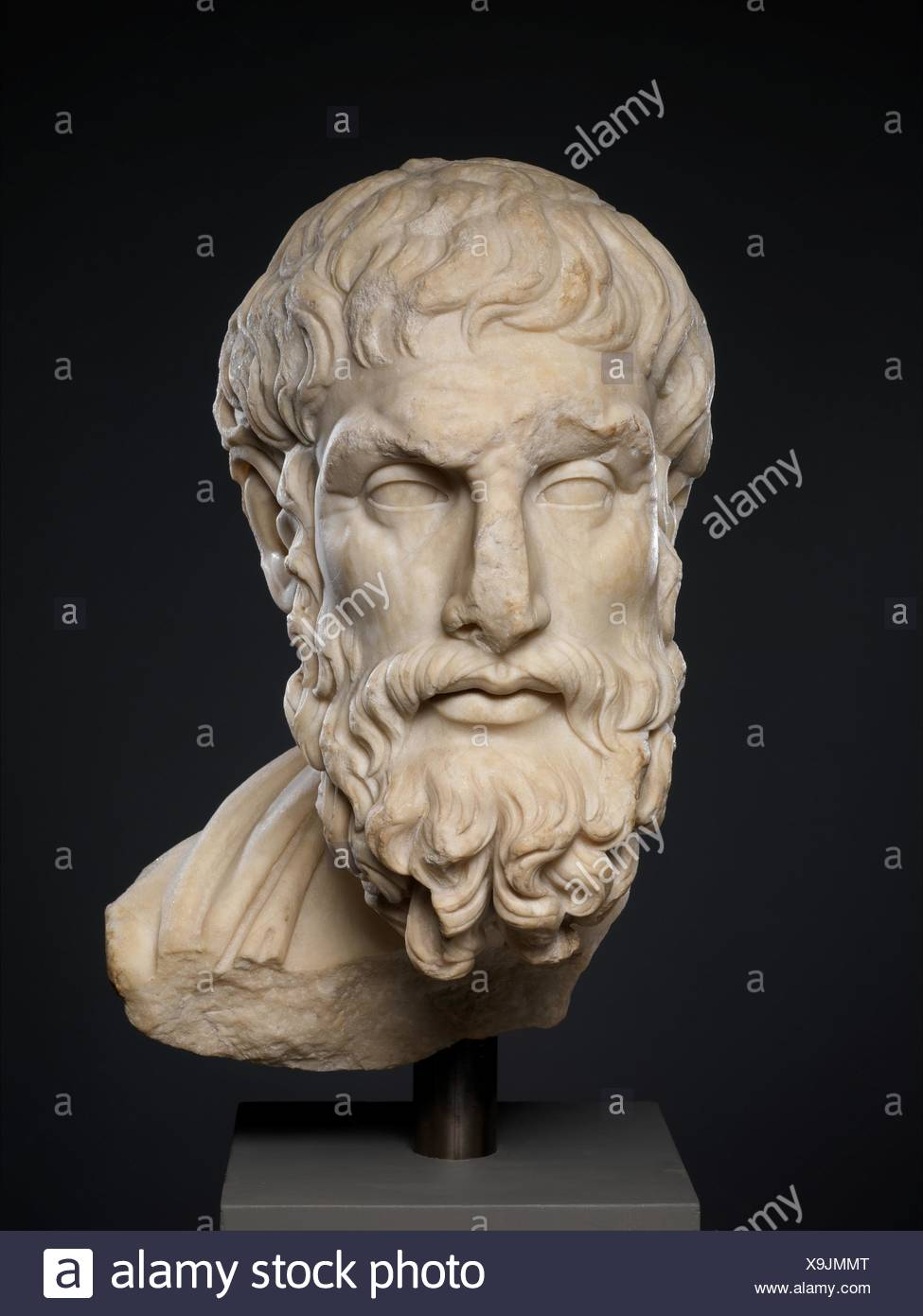 Marble head of Epikouros. Period: Imperial; Date: 2nd century A.D; Culture: Roman; Medium: Marble, Pentelic; Dimensions: 19 5/8 x 9 3/4 x 11 1/2 in. Stock Photo