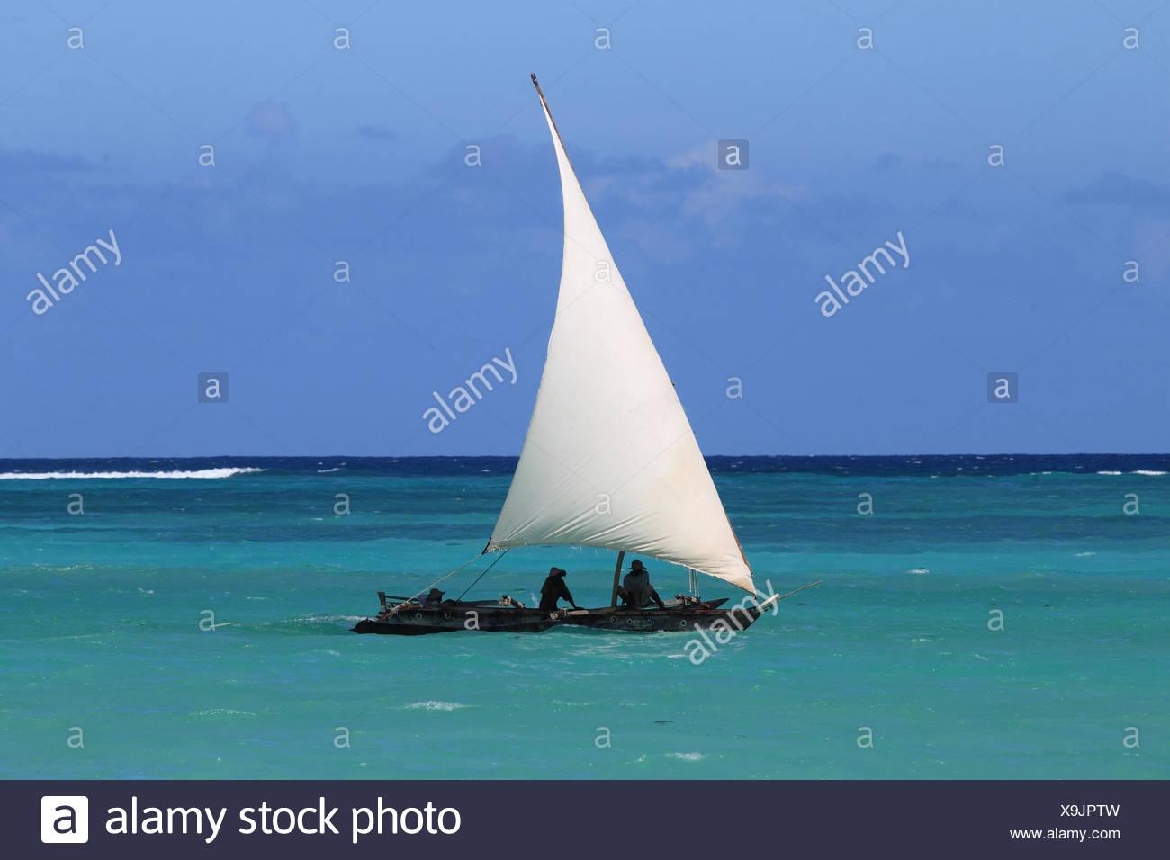 dhow on the Indian Ocean, Tanzania, Sansibar - Stock Image