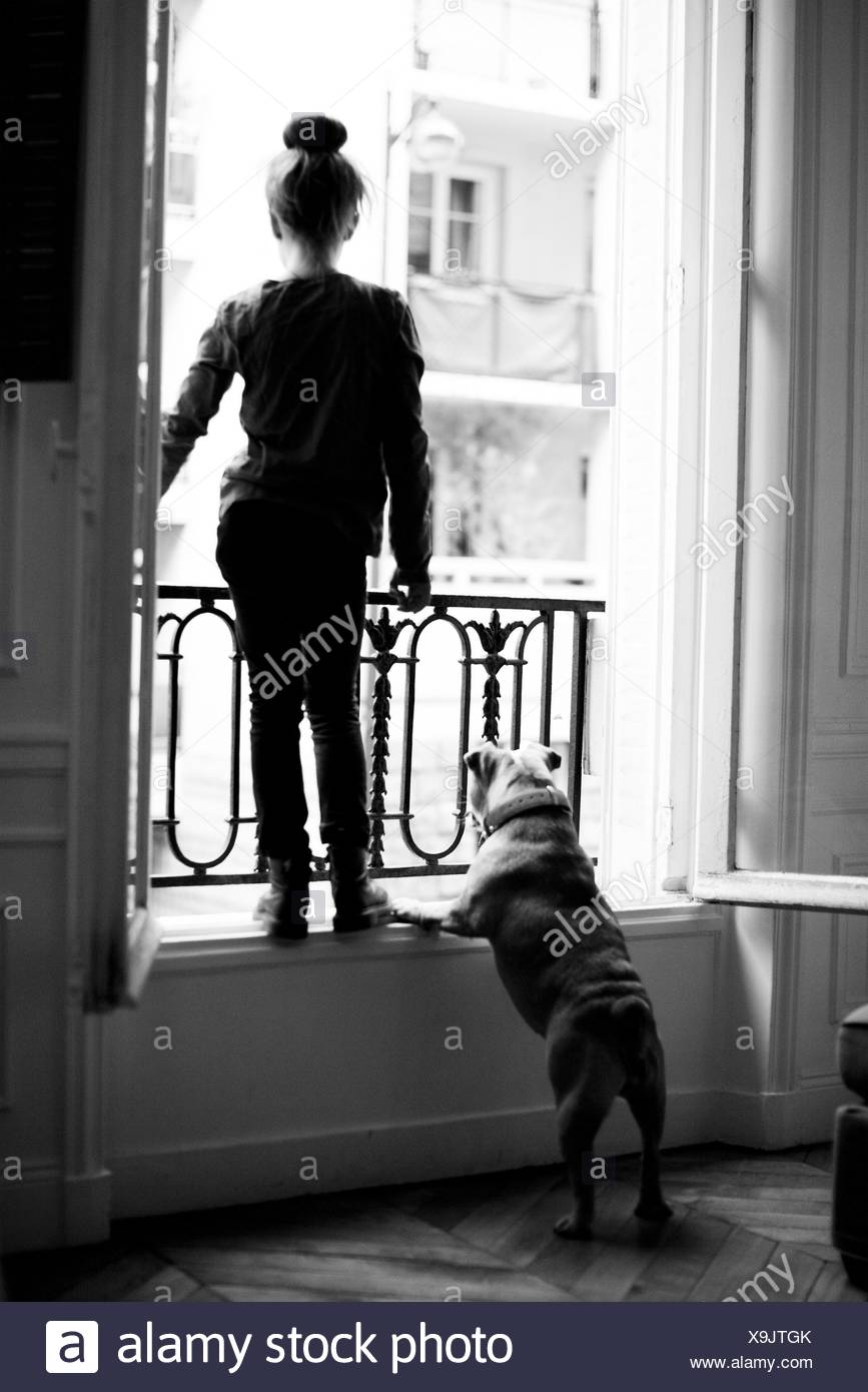 Girl standing on windowsill with pet dog, both looking out - Stock Image