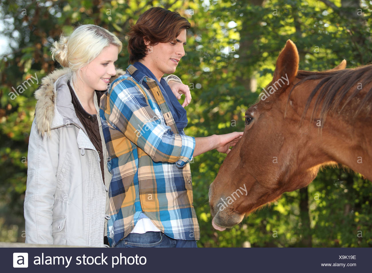 couple stroking horse Stock Photo