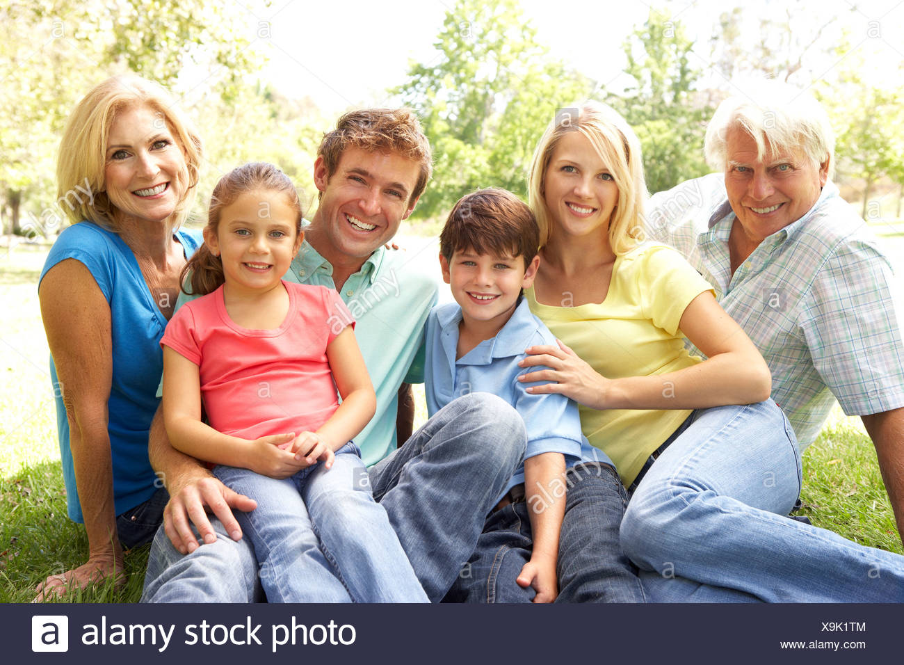 Extended Group Portrait Of Family Enjoying Day In Park - Stock Image
