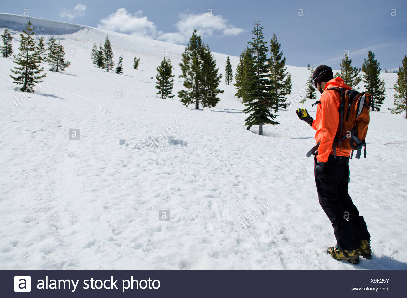 A young man practices avalanche training in Truckee, California. - Stock Image